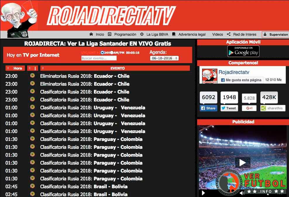 calendario Roja Directa, partidos Roja Directa