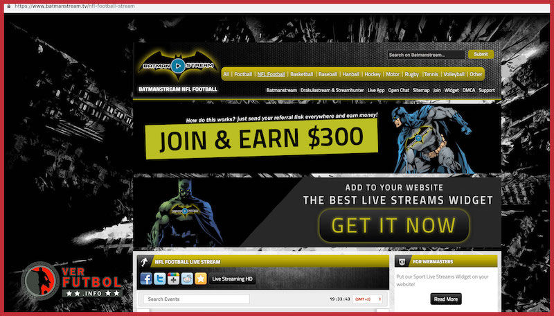 Vista al portal de Batman Stream