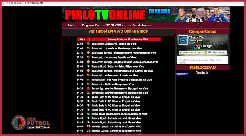 Vista al portal de Pirlo TV